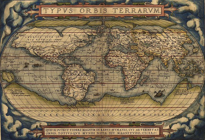 Typus Orbis Terrarum, карта мира работы Абрахама Ортелия / Wikimedia Commons